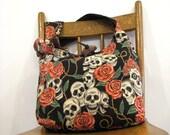 SKULL BAG - Cross Shoulder Bag - Goth Bag - Crossbody Bag - Hobo Bag - Skull Purse - Hippie Bag - Vegan Bag - Skull and Roses - Slouch Bag