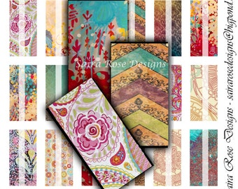 Digital Download Collage Sheet - 1x2 inch Rectangles - Boho/Indie Background Themed Printable Images