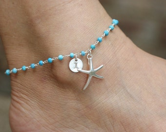 Personalized starfish turquoise anklet,Beach wedding,Turquoise anklet,Destination wedding, Bridesmaid gift, ankle bracelets,