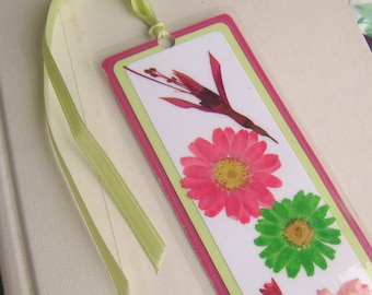 Pink and Lime Green Pressed Flower Floral Collage Laminated Bookmark