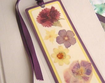 Purple and Yellow Pressed Flower Floral Collage Laminated Bookmark