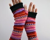 Fingerless Gloves - Merino Fingerless Gloves - Fingerless Wool Gloves - Pink, Purple Gloves - Autumn Fashion  - Fashion Gloves  nO 65.