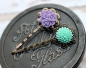 Lavender and Mint Bobby Duo Filigree Flower Bobby Pins Set of 2 Ladies Hair Accessory Little Girls Hair Accessory