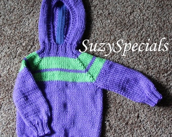 Knitted Hooded Baby Sweater Purple with Green Yoke Ready to Ship