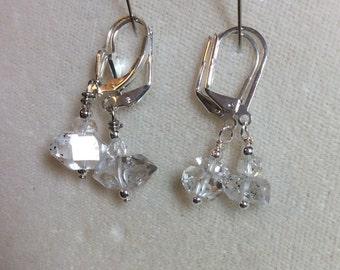 Large Herkimer diamond earrings, one pair