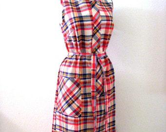 60s 70s Plaid Shift Dress with Original Tags - Vintage Sleeveless Scooter Dress - Red and White Plaid Dress - NOS New Old Stock - Medium