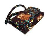 Mini Crossbody Bag, Small Messenger Purse, Cross Body Pocketbook, Brown Crossbody Purse, Owl Purse, Owl Messenger, Fabric Handbag
