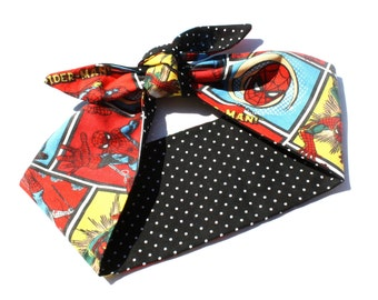 Comic Book Head Scarves, Choose from Star Wars, Girl Power, or Spiderman