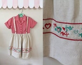 vintage 1960s girl's dress - OKTOBERFEST folklore heart dress / 7yr