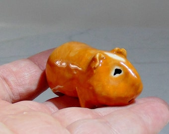 Guinea Pig Miniature - Terrarium Figurine - Miniature Animal - Golden -Small Pet Figurine - Ceramic Figutine - Pottery Animal -Studio Choice