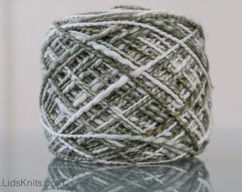 Hand Dyed Organic Cotton Yarn - 5oz Worsted - Olive and Natural