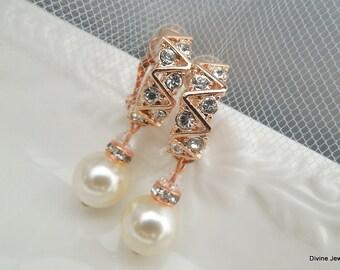 Rose Gold Clip On Bridal Earrings Wedding Pearl Earrings Bridal Rhinestone Earrings Clip-on Earrings Ivory Swarovski pearls earrings LEXI