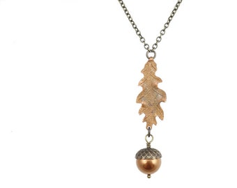 Oak Leaf Necklace Acorn Jewelry Antique Brass Pearl and Copper Jewelry Acorn Necklace Thanksgiving Woodland Harvest Fall Autumn Necklace