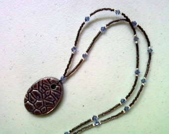 Maroon and Blue Necklace with Ceramic Pendant (1150)
