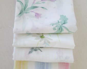 Vintage Sheet Fabric, Reclaimed Bed Linen Fabrics, Fat Quarter Bundle, White Floral Beauties (5 Pack)