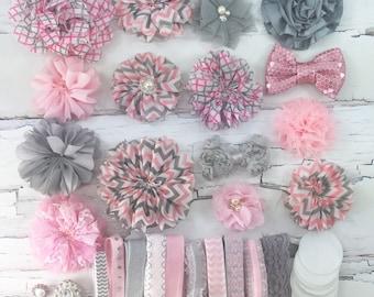DIY-Headband Kit 15 Headbands - Make Your Own Headbands- PINK/GREY