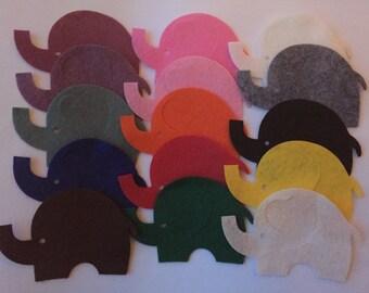 Wool Felt Elephants 15 Count - Random Colored 3032 - felt animals - felt for kids - baby show decor