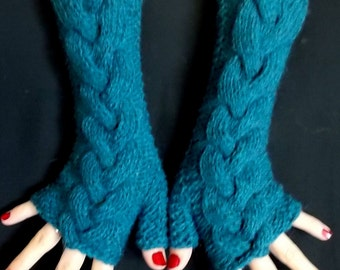 Fingerless Gloves Long  Blue Green / Teal Cabled  Warm Winter Wrist Warmers for Women with Alpaca