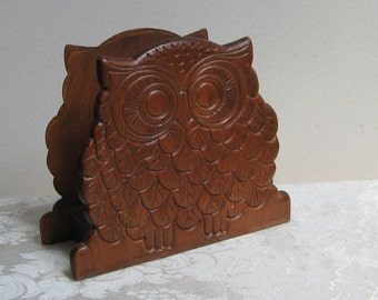 Vintage Wood Owl Napkin Letter Holder, Carved Wood Bird, Funky Bohemian