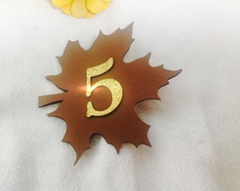 Glitter Table numbers 1-10 Fall wedding or event in brown and gold glitter.