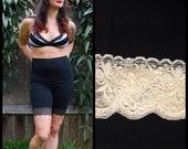 M Cotton Bike Shorts size Medium with CREAM lace trim