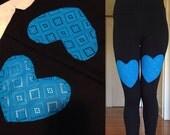 M Blue Heart Thigh Leggings size Medium