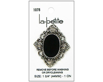 La Petite Button Large  Black Silver Diamond Cabachon Fashion Sewing Clothing Button La-Petite LaPetite 689 1078