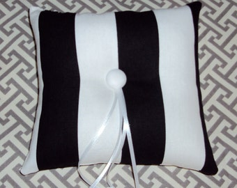 Tufted Black and White Ring Bearer Pillow With Button