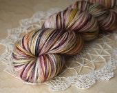 Hand Dyed Yarn / Fingering Weight / Berry Rose Gold Black Aria / Superwash Merino Wool Nylon Sock Yarn