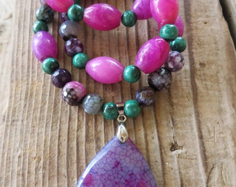 Pink Purple Agate and Malachite Beaded Necklace with Dragons Vein Agate Pendant