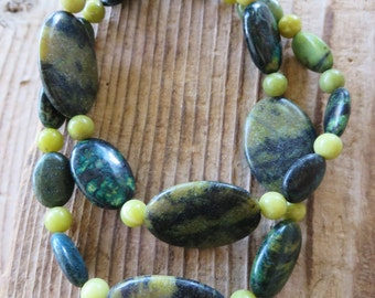 Green and Black Jasper Azurite and Lemon Jasper Beaded Necklace