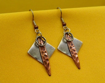 I'm too funky for my silver and copper earrings (Style #251C)