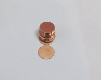"1/2"" Copper blanks - 24 g -Hand stamping metal blanks  5 or more"
