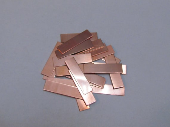 1/4 x 1  Copper - Rectangle  Blanks - 24 gauge - Hand stamping metal blanks