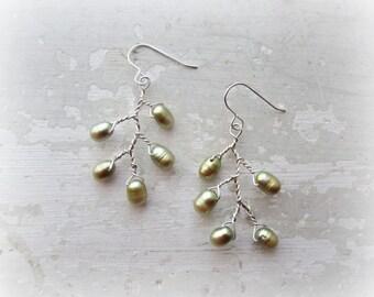Bloom Earrings, Sterling Earrings, Olive Pearl Earrings, Branch Earrings, Wire Wrapped Earrings, Freshwater Pearls, Nature Inspired