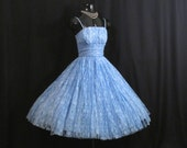 Vintage 50s 1950's Baby Blue LACE Party Prom Wedding Dress Gown