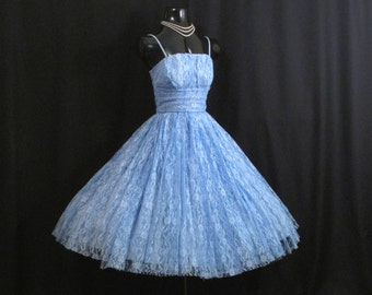 SALE Vintage 50s 1950's Baby Blue LACE Party Prom Wedding Dress Gown
