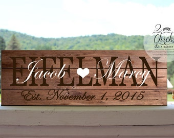Family Name Sign, Customized Wedding Sign, Personalized Family Last Name Sign