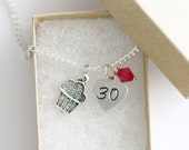 30th Birthday, 30th Birthday Gift Personalized Necklace Silver, Heart Necklace, Birthstone Acrylic Color, 30th Necklace