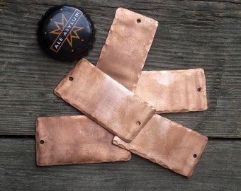 Lot of 5 Rectangular Copper Stamping Blanks /Metal Stamping Blanks/Bracelet Blanks/Recycled Metal Blanks/Upcycled Jewelry Findings Charms