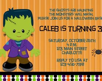 Frankenstein Invitation Halloween Birthday Party Invitation Frankenstein Birthday Invitation
