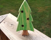 Wood Christmas Tree Rustic Home Decor Wood Burned Stars Woodland Country Shelf Sitter