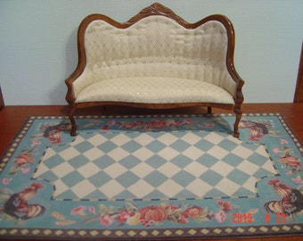 Dollhouse rooster rug blue green checkerboard 1:12 scale
