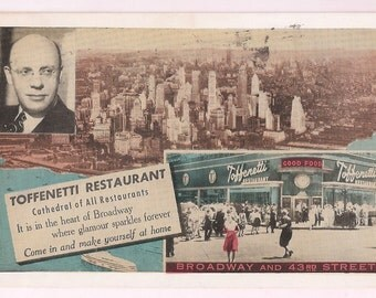 New York City Skyline - Times Square Toffenetti Restaurant 43rd Street at Broadway - NYC Vintage Postcard - 1950's Restaurant Memorabilia