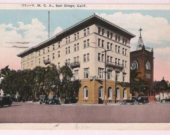 San Diego California Postcard - San Diego YMCA - 1930's California Souvenir - San Diego Memorabilia
