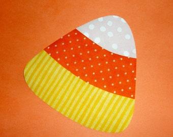 Iron On Applique Yellow Stripe Orange And White Swiss Polka Dot Halloween CANDY CORN