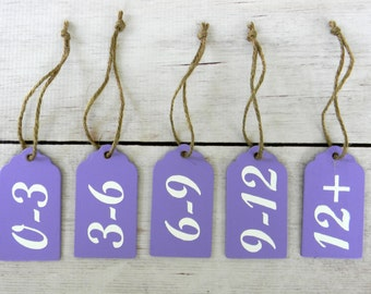 Baby Closet Organization - Infant Clothing Divider - Month Size Separators - Baby Shower Gift - Baby Clothes Dividers - Purple