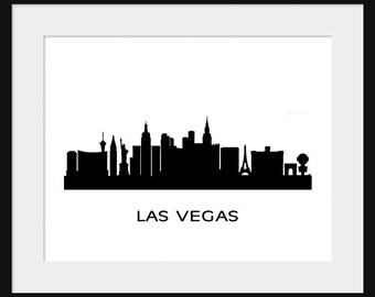 Las Vegas - Skyline Silhouette - Print Poster - Title