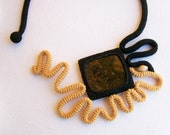 Crochet Necklace Square Granite Stone, Mustard Yellow Black Abstract Sunflower