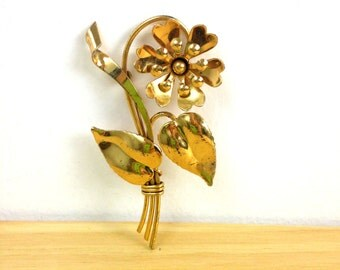 Vintage Gold Floral Brooch / Flower Pin / Sterling Brooch / Sweater Accessory / Large Brooch / Stem Flower Brooch